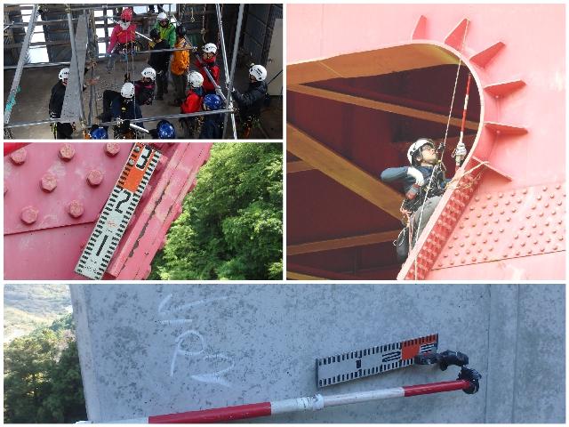 ロープアクセス技術を使用した特殊高所作業風景。橋梁点検、ロープ高所作業特別教育の写真。